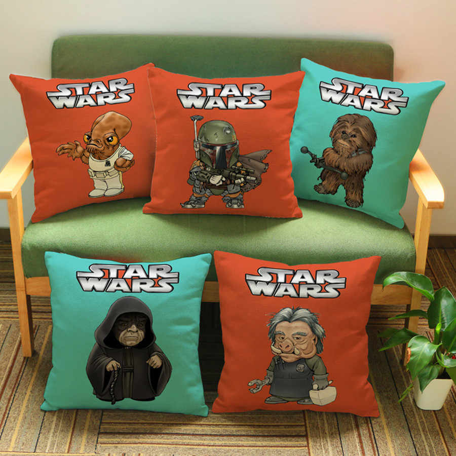 Surprising Star Wars Cushion Pillowcase Cute Funny Cartoon Small Man Yoda Warrior Cotton Linen Decoration Car Sofa Chair Throw Pillows 18 Creativecarmelina Interior Chair Design Creativecarmelinacom