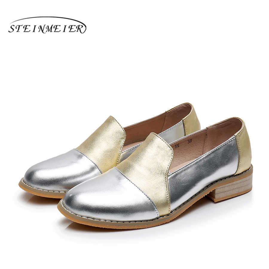 Vrouwen echt lederen brogue oxford schoenen vrouw zilver eenvoudige handgemaakte vintage retro casual platte schoenen voor vrouwen