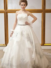 Free Shipping Luxurious Ball Gown Strapless Crystal Back Bow Royal Train Royal Wedding Dress With Long Train CMY003