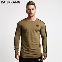 New autumn new men long sleeved t shirt cotton raglan sleeve Fitness workout clothing male Casual fashion Brand tees tops
