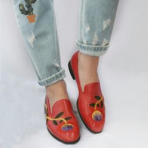 Image 5 - Yinzo femmes chaussures plates Oxford chaussures femme en cuir véritable slip on dames richelieu Vintage chaussures décontractées chaussures pour femmes 2020