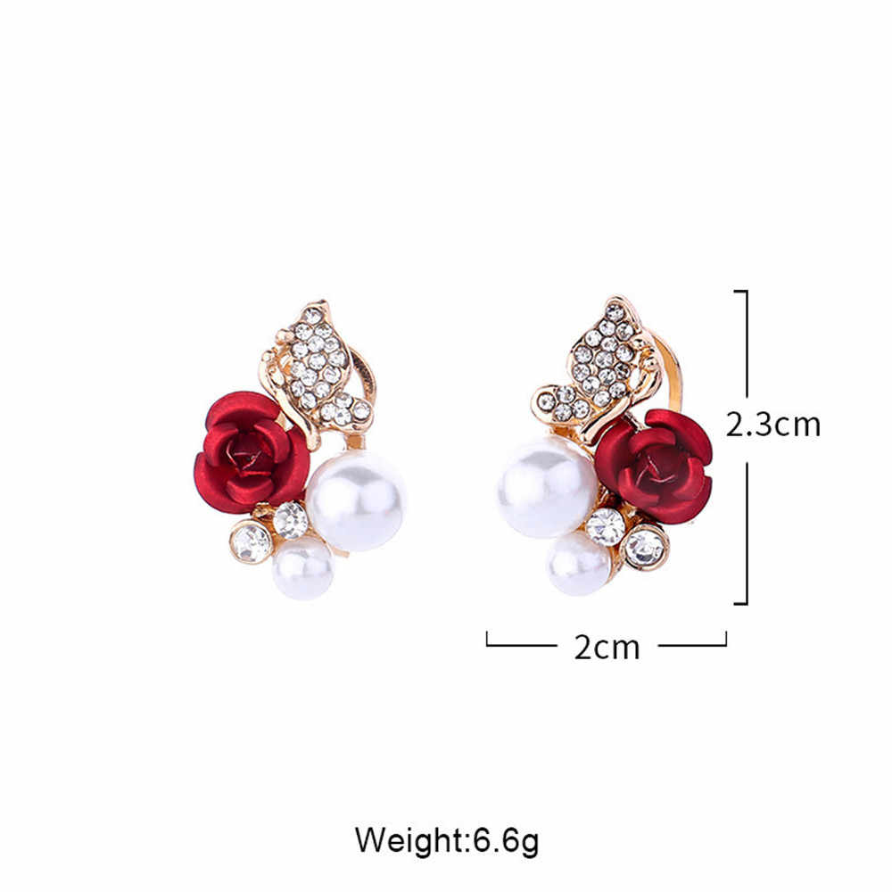1 Pair Red Rose Flower Imitation Pearl Plated Crystal Stud Earring10.29