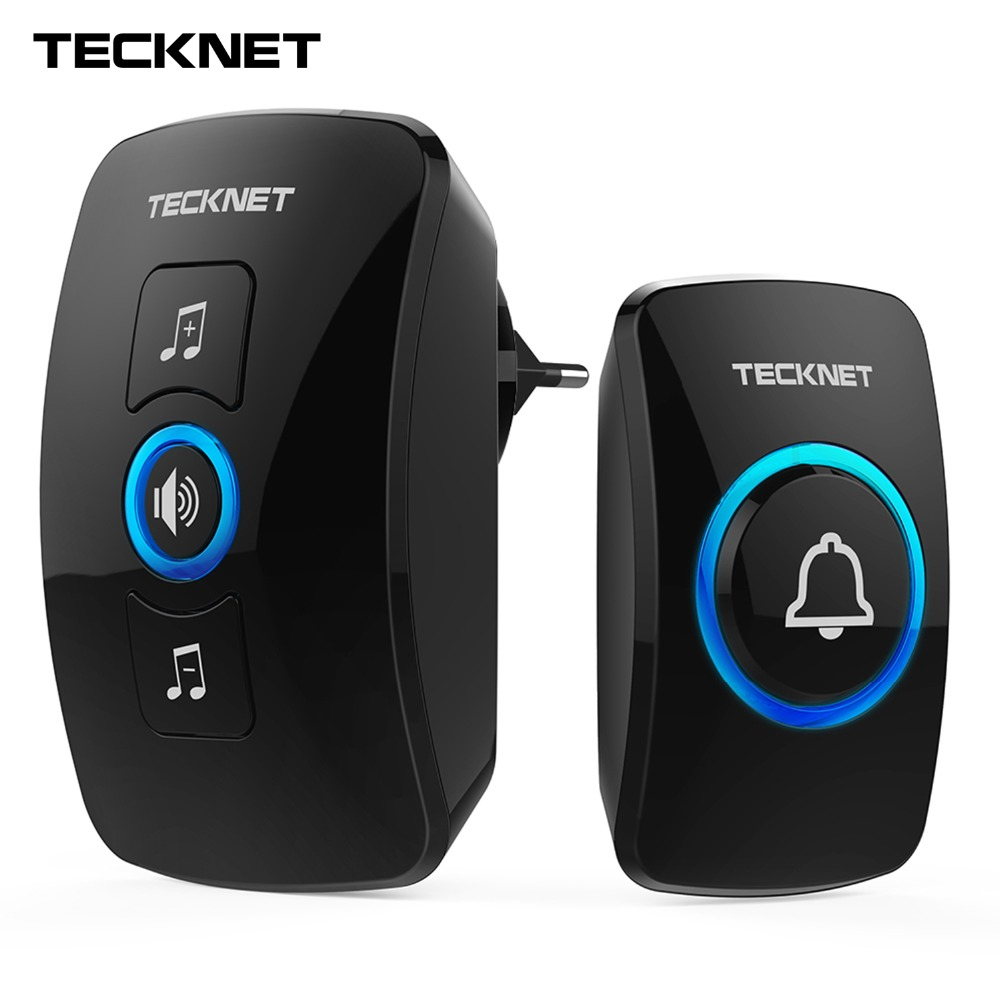 TeckNet Parete Plug-in Cordless Impermeabile Casa Campanello Senza Fili Porta Campana Campanello 250 M Gamma con 32 Chimes Facile installare