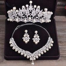 Невесты Дневники бижутерного устанавливает новый Дизайн с жемчугом 3 шт. комплект Цепочки и ожерелья Серьги Тиара Свадебный Для женщин свадебный комплект ювелирных изделий