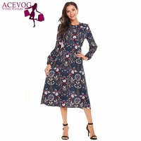 ACEVOG Women Vintage Dress Autumn O Neck Floral Print Long Sleeve Midi Party Back Zipper A