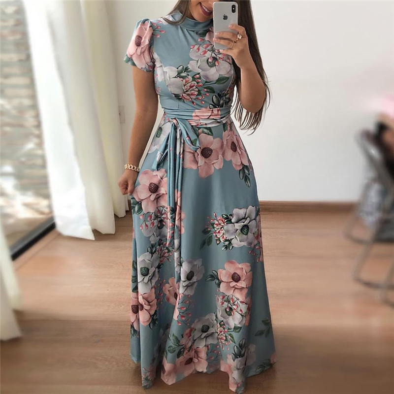 Ameision 2019 Women Summer Dress Casual Short Sleeve Long Boho Floral Print Bandage Elegant Maxi Stand Neck Dresses Vestido in Dresses from Women 39 s Clothing