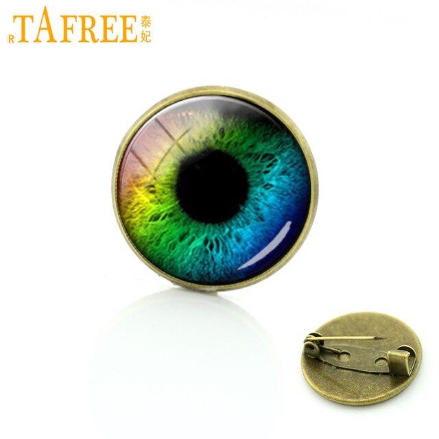TAFREE Drago bulbo oculare spilla pin art immagine di vetro cabochon cupola gelo dragon eye distintivo delle donne yoga mandala spille gioielli T778