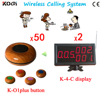 Long Range Restaurant Wireless Table Call System Waiter Buzzer 50 Buttons and 2 Display Receiver