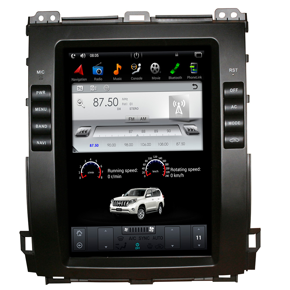 2 Din Tesla Style 10.4 inch Android 9.0 Car GPS Navigation DVD Player for <font><b>Toyota</b></font> <font><b>Land</b></font> <font><b>Cruiser</b></font> <font><b>Prado</b></font> <font><b>120</b></font> 2002-2009/ Lexus GX470 image