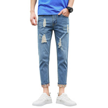 Streetwear Fashion Men's Jeans Vintage Loose Destroyed Ripped Hole Pants 2019 Spring Summer Hip Hop Ankle Length  Jeans for Men