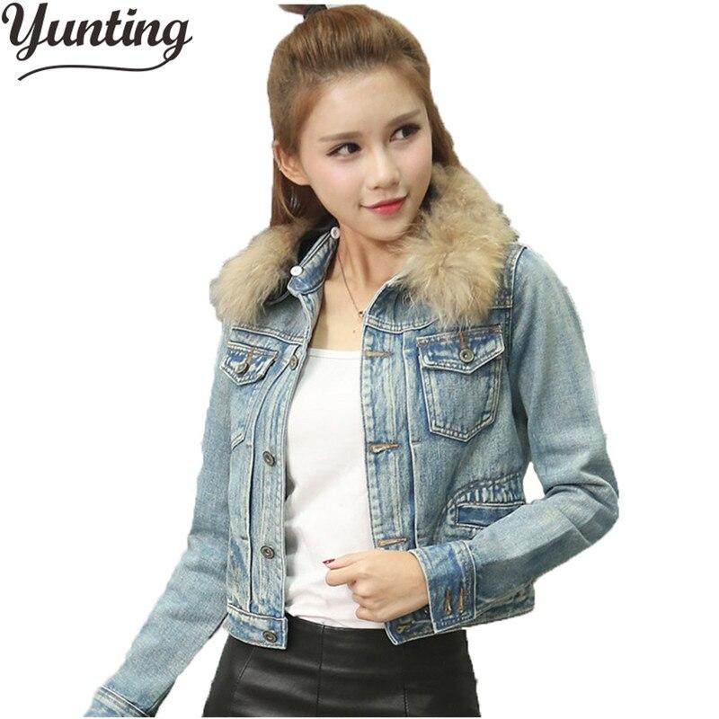 2018 new fashion brand women denim coat girl denim jacket fur collar bomber jacket keep warm