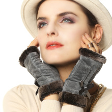 women cute fingerless gloves fashion rabbit hair wrist Genuine leather warm pig suede pigskin
