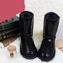 2015 winter woman snow boots Waterproof genuine leather snow boots fur knee-high woman shoes winter short-leg boots