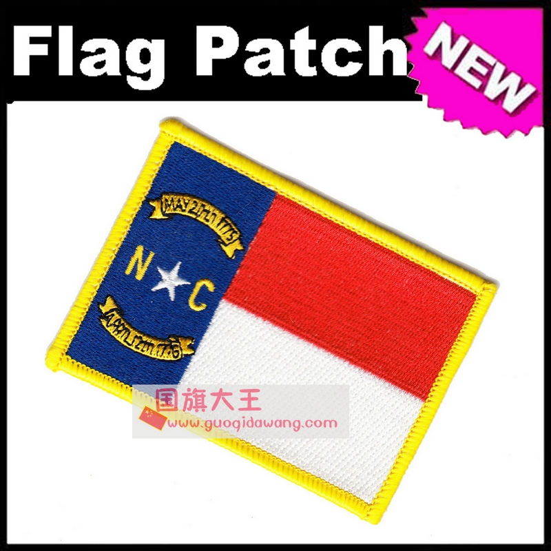 North Carolina Flag Embroidery Patches The United States of America USA State Iron on FULL Embroidery