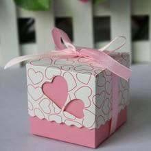 100 шт розовый/фиолетовый/желтый/синий/оранжевый/красный сердце Свадебные обработанные лазером коробки для конфет коробка для свадьбы для девочек мальчиков день рождения