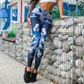 Женские тренировки леггинсы сексуальные лоскутные брюки высокой упругой печати леггинсы дышащий тощий брюки push up леггинсы для женщин