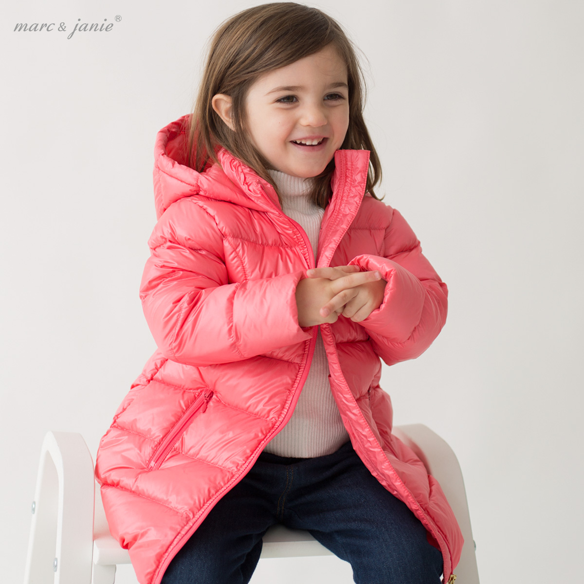 0-1-2 year old baby girl in a long, lightweight down jacket 6-8-9-10 months baby down jacket snowsuit baby-snowsuit infant