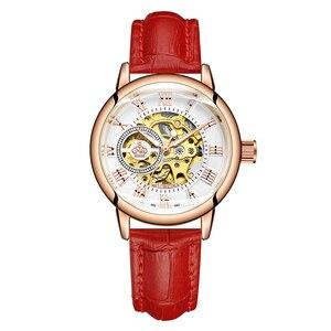 Image 3 - ORKINA montre de luxe pour femmes, horloge mécanique, avec bracelet blanc, boîtier en or, marque de luxe, collier en perles