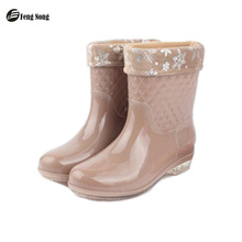 Fengnong Spring Rain Boots Warm British Style Solid Rubber Waterproof  Motorcycle Thicken Mid-calf Martin Boots Woman Shoes w029