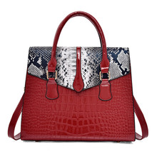 luxurious Womens Bag Snake Crocodile Print Pu Leather Tote Women Handbags Big Large Capacity Shoulder Bags Messenger