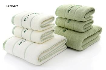 3 sztuk * dużo haftowane zielonej herbaty 100 bawełna frotte ręcznik do twarzy miękkie eleganckie luksusowe łazienka ręczniki kąpielowe zestawy Juego de Toallas tanie i dobre opinie LYN GY Zestaw ręczników Prostokąt Zwykły 0 6KG List Drukowane GY03 20 s-25 s Można prać w pralce Tkane Towel Set 100 Cotton