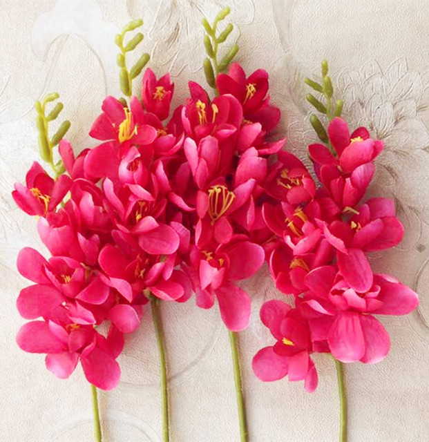 Aliexpress buy 18pcs per lot freesia flower fake orchid single 18pcs per lot freesia flower fake orchid single stem for wedding centerpieces floral arrangement artificial decorative mightylinksfo