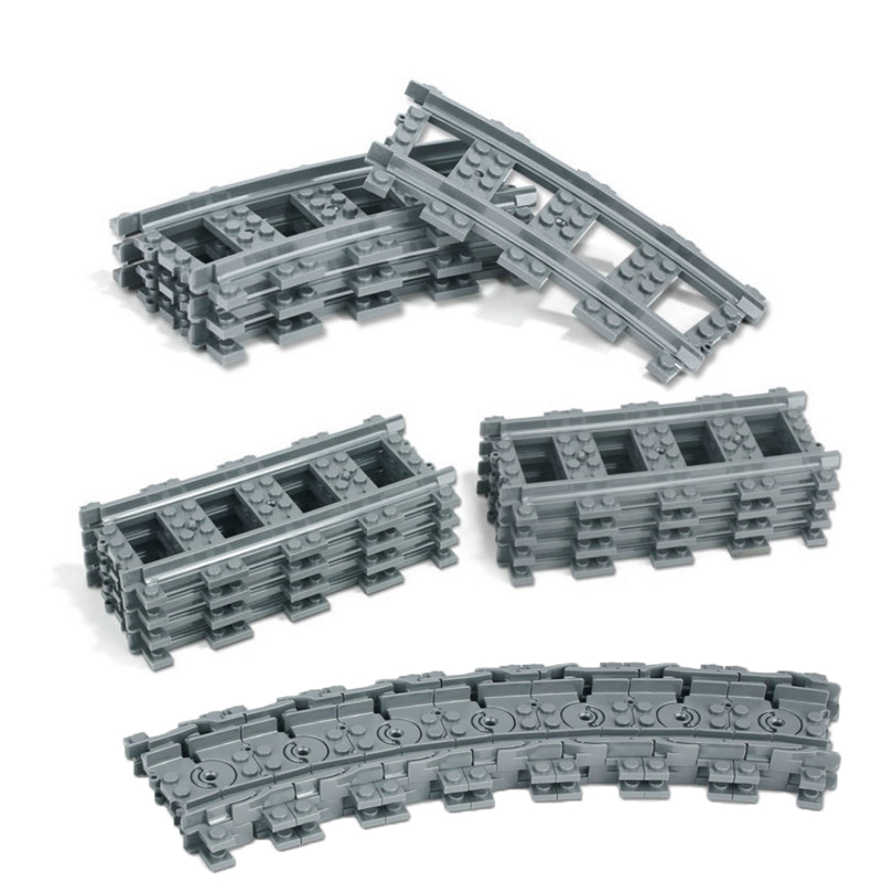 10-100 Pcs City Train Track Rail Straight & Curved Soft Rails Building Blocks Bricks Model Kids Toys With Legoinglys