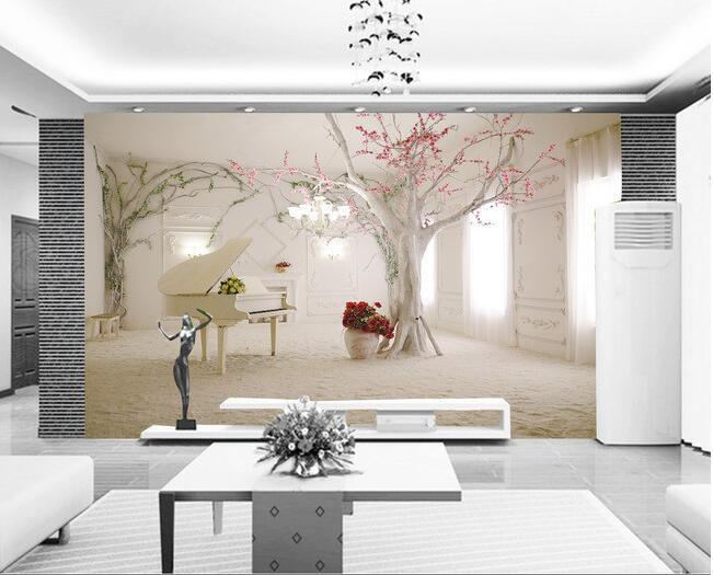3d wallpaper custom mural non-woven 3d room wallpaper 3d romantic dream piano TV setting wall tree photo wallpaper for walls 3d
