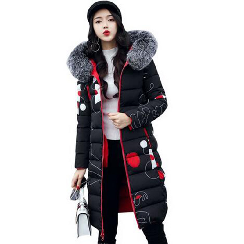 New 2017 Winter Women Coat Long Cotton Jacket Fur Collar Hooded 2 Sides Wear Outerwear Casual Parka Plus Size Manteau Femme 0456 qazxsw 2017 new winter cotton coat women slim hooded jacket two sides wear long parkas fur collar winter padded abrigos hb339