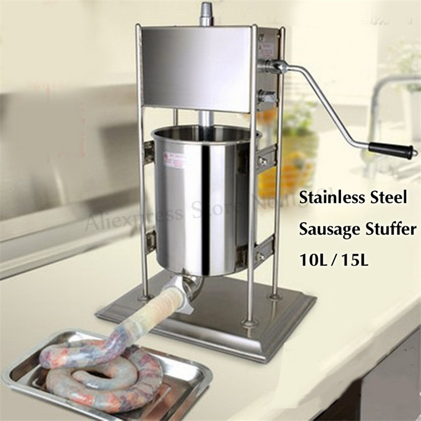 10Liters Manual Sausage Stuffer Meat Processing Machine Stainless Steel Churros Maker Restaurants Churro Filling Machine