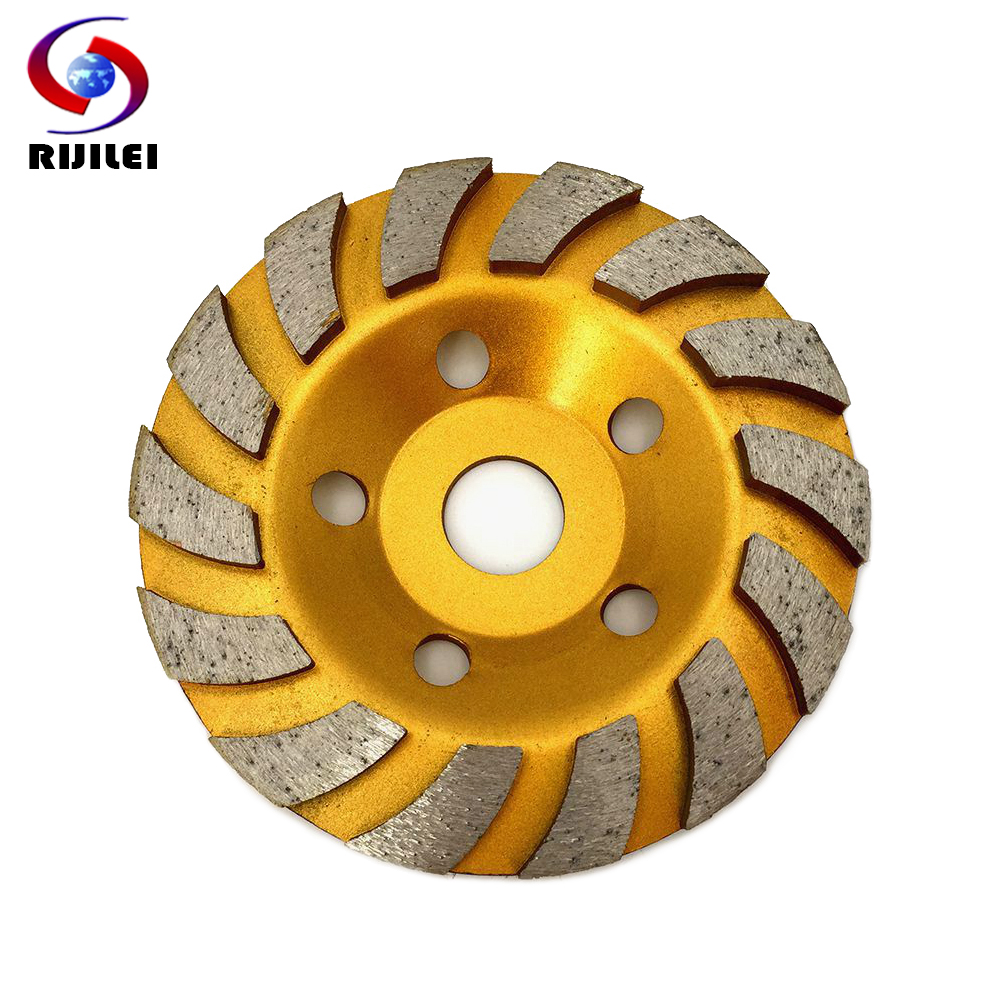 RIJILEI 125mm Diamond grinding cup disc 5inch Turbo Row Diamond Grinding Wheel Marble Abrasive pad for stone Polishing pad HC01
