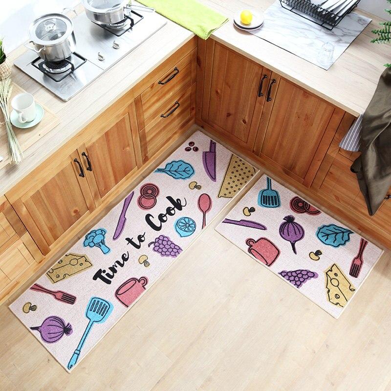 50x80 CM + 50x160 CM tapis de cuisine lavable en Machine doux Polyester coton antidérapant cuisine et salle de bain avec tapis de sol absorbant