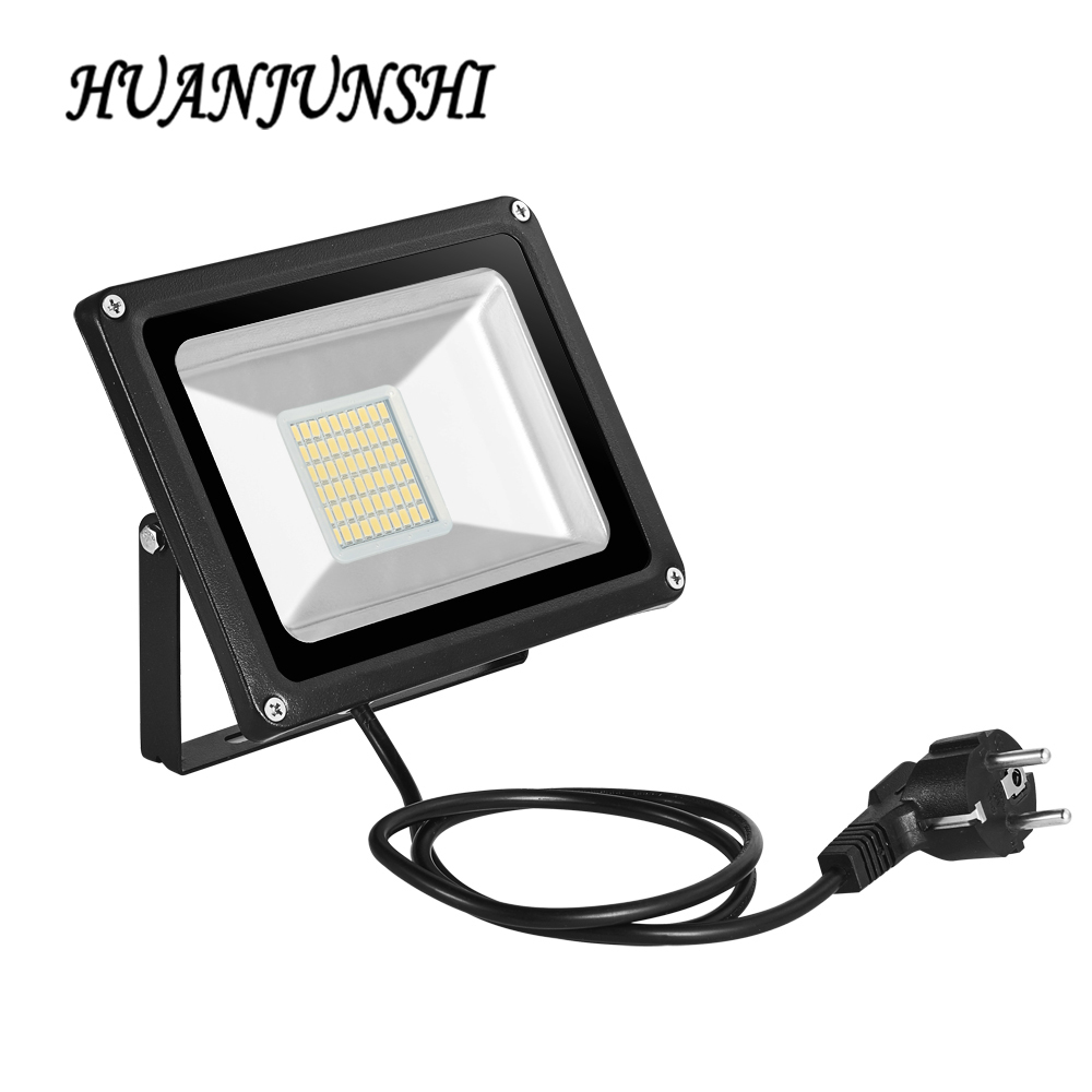 10W 20W 30W 50W 100W LED Floodlight med EU-stik 220V Reflektor LED Flood Light Udendørs Ledbelysning Spotlight IP65 Vandtæt