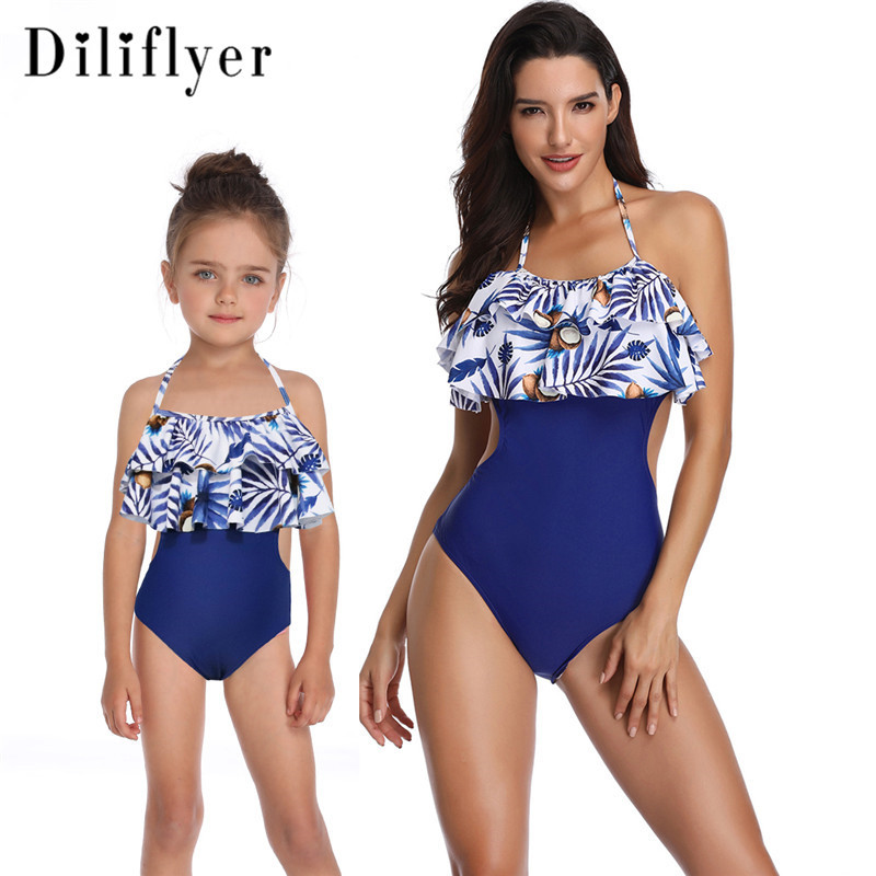 2019  Family Swimsuit Child Swimwear With Double Lotus Leaves One Piece Tassel Swimsuit Mom And Daughter Dress Bobo Bathing Suit