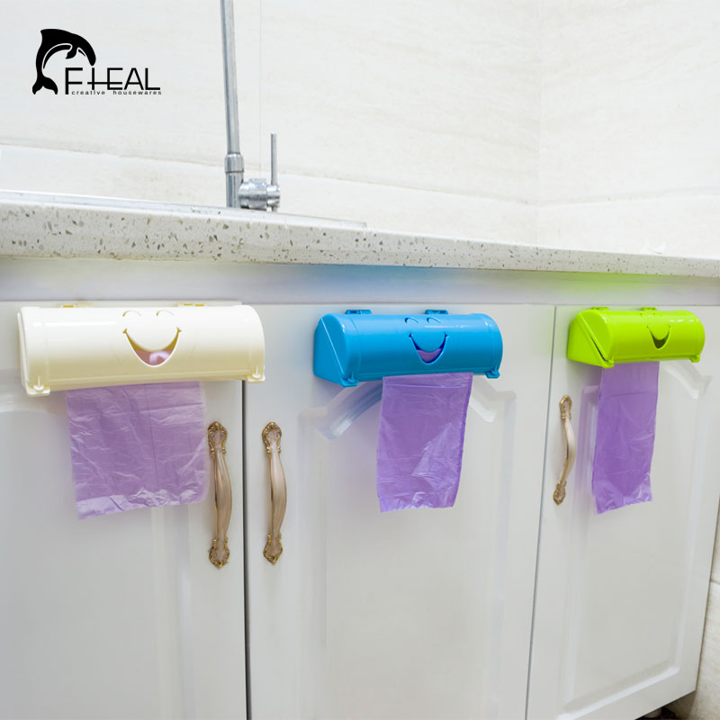 FHEAL Candy Color Home Eco-friendly Smile Face Sampah Bags Storage Box Kitchen Paste Type Plastic Container