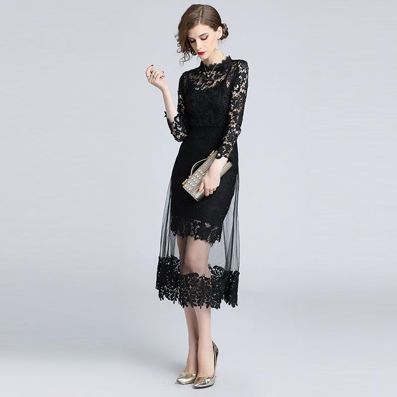 d8a685cc63c Évider Arrivée Élégante De 2018 Dames Femmes Sunnyyeah Automne Nouvelle  Noir Robes Soirée Robe Casual Dentelle ...