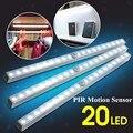 PIR Sensor 20-LED Wireless Tube Cabinet AAA Light For Drawer Closet Bedroom