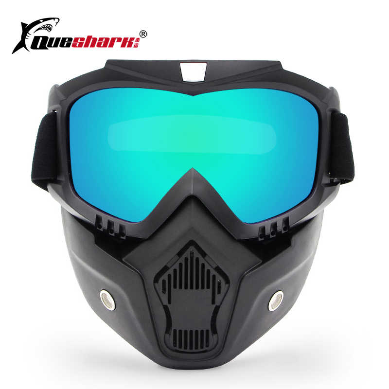 58750e22e5d1 Queshark Dust-proof Cycling Full Face Mask Motorcycle Windproof Ski Goggles  with Detachable Mask Helmet