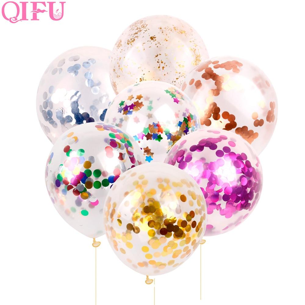 QIFU 5 st 12 inch Gold Confetti Ballon Bruiloft Decoratie Clear Latex - Feestversiering en feestartikelen