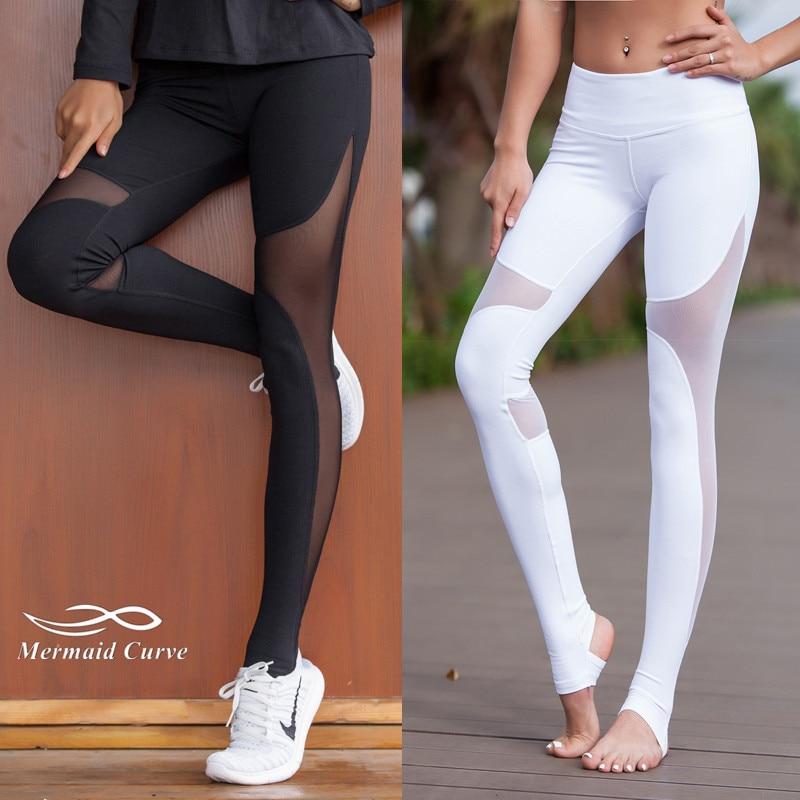 6f8e263fd3 Mermaid Curve Women Sport Fitness Leggings Elastic Gym Capris hollow out  Tight Leggings Coast the same style Yoga pants