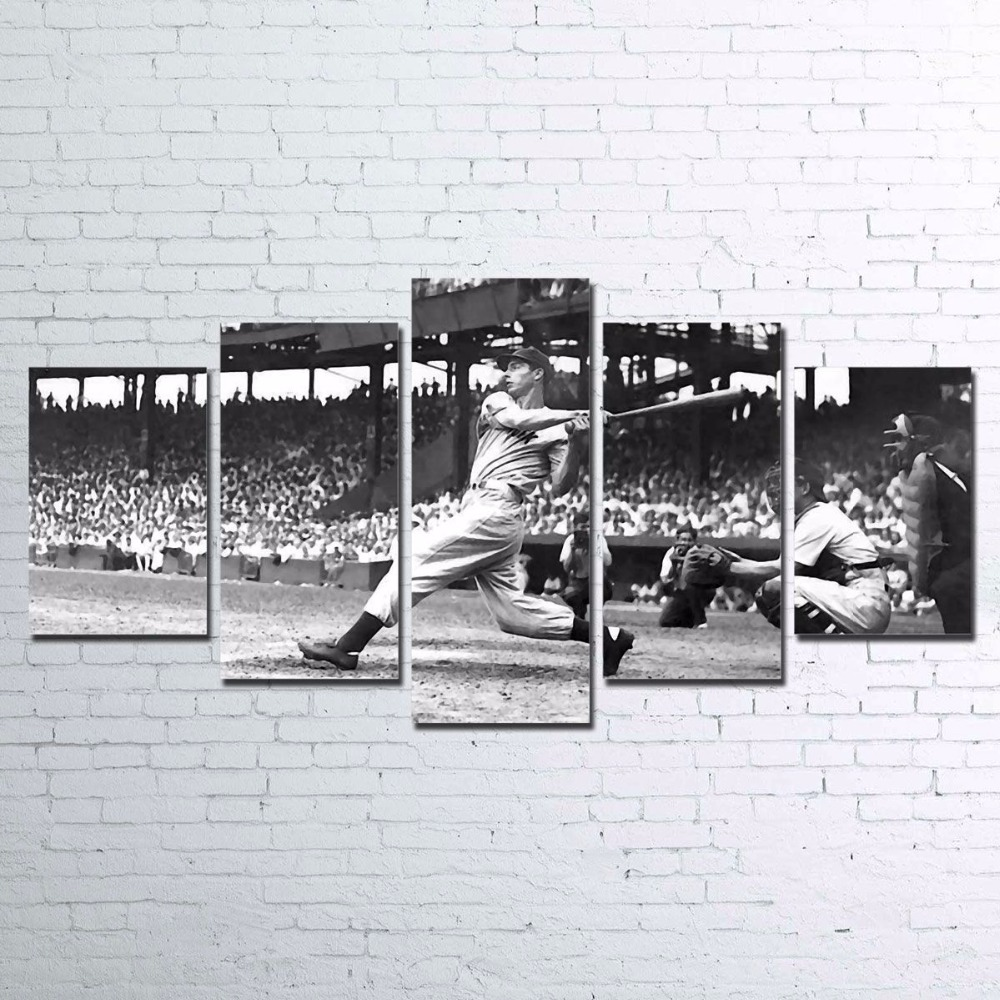 5 Pieces Baseball Player Vintage Paintings Canvas Poster