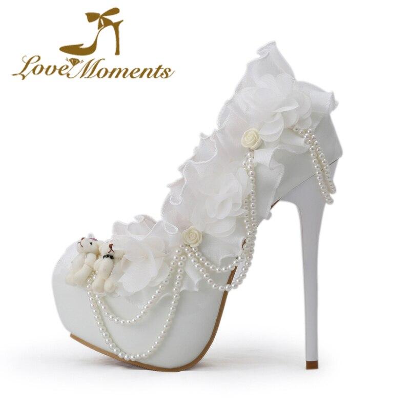 Taille De Chaussures En Dentelle Blanche Heureux liBH56No