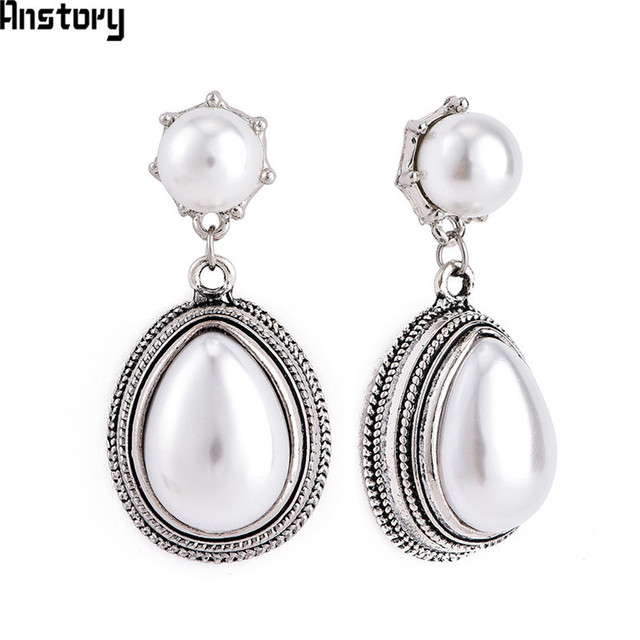 Drop Pearl Earrings Stud For Women Antique Silver Plated Pendant Fashion Jewelry