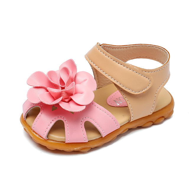 Flower Protect-Toe Beach Sandals Girls Solid Color Slippers Shoes
