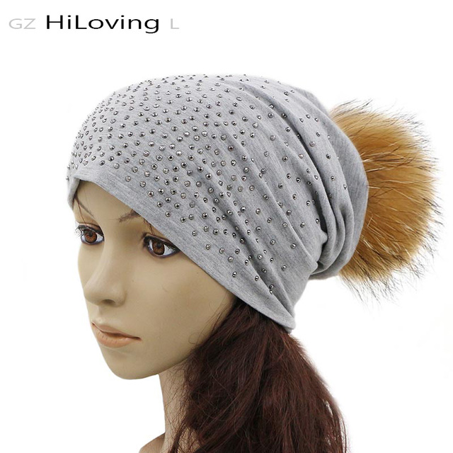 974c46f86b2 GZhilovingL Casual Women Slouch Beanie Hat With Fur Pompoms Soft Loose  Autumn Winter Ladies Polyester Rhinestone Beanies Hats