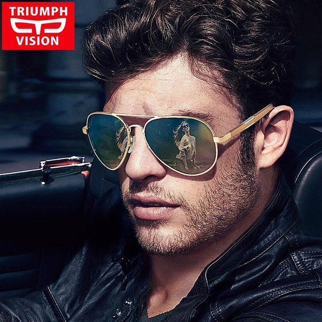 TRIUMPH VISION Polarized Pilot Sun Glasses For Men Brand Desiger Shades Male Aluminium Magnesium Aviator Sunglasses Men Driving