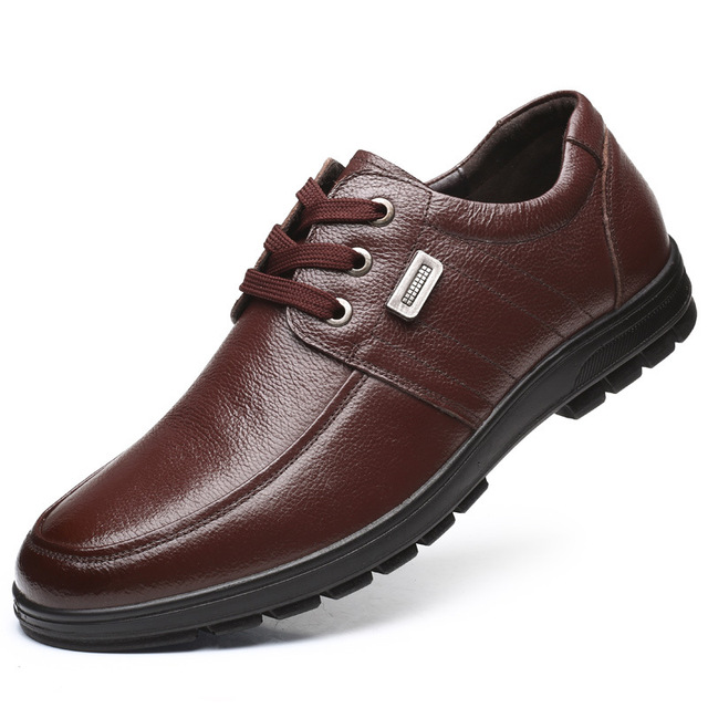 9768 New Fashion 38-47 Plus Size Men's Leather Shoes Lace Cowhide Daddy Shoe Middle-aged Casual Men