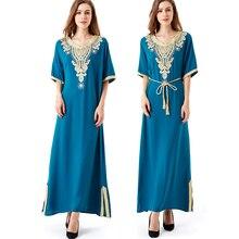 Muslim women Long sleeve Tunic Dress maxi abaya islamic women vintage dress clothing robe kaftan caftan Moroccan embroidey1605