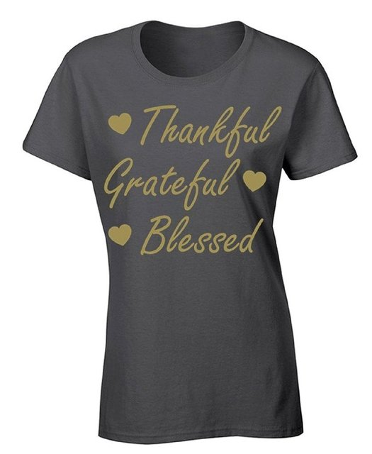 Шею Майка Outlet женские Благодарны Благодарны Благословил Футболка Happy Holidays ShirtPrinted Танец Футболки