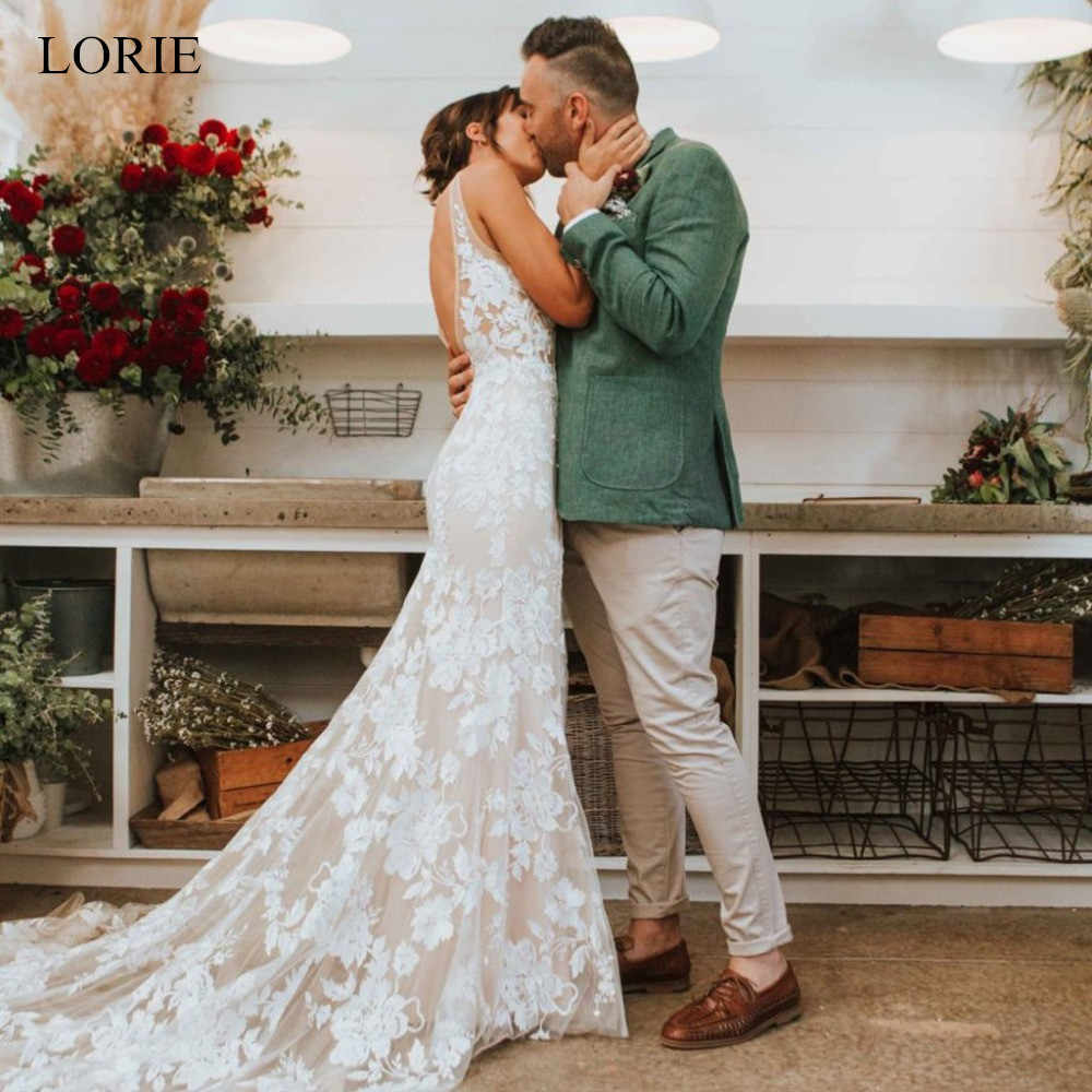 LORIE Sexy Open Back Mermaid wedding dress 2019 V Neck Tulle and Appliques vestido de noiva	White Ivory bride dress Custom made